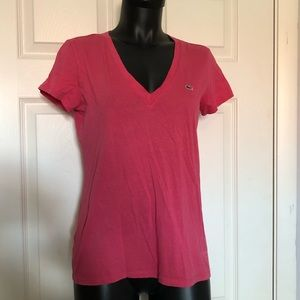 Women's Lacoste Pink T-shirt Size 40
